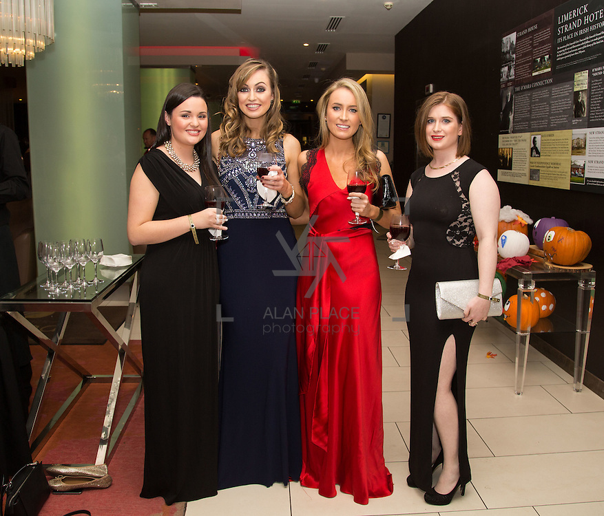 22.10.2016                 <br /> Society of Young Solicitors Annual Conference Gala Ball, Strand Hotel Limerick. Attending the event were, Susan Cunningham, Rebecca Scott, Deirdre Nally and Aine Omurchu. Picture: Alan Place