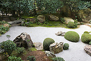 "Motonobu-no-Niwa Garden at Taizoin - Motonobu Kano, the Master of Zen and also a painter of the Muromachi period, designed this garden and as such, it retains a very graceful, elegant and painterly ambience, giving it a unique air. The background scenery of the garden consists mainly of camellia, pine, Japanese umbrella pine, and other evergreens, presumably planted to present an ""eternal beauty"" that remains the same throughout the changing seasons."