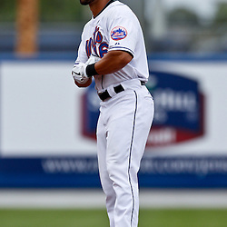March 6, 2011; Port St. Lucie, FL, USA; New York Mets center fielder Angel Pagan (16) during a spring training exhibition game against the Boston Red Sox at Digital Domain Park.  Mandatory Credit: Derick E. Hingle