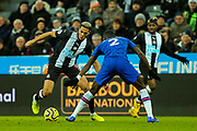 Joelinton (#9) of Newcastle United looks to take on Antonio Rudiger (#2) of Chelsea during the Premier League match between Newcastle United and Chelsea at St. James's Park, Newcastle, England on 18 January 2020.