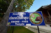 Laos. Luang Prabang. Wat Xiang Thong. Smoke free temple, smoke free Luang Prabang.