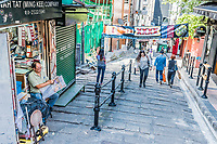Central, Hong Kong, China- June 4, 2014: people walking in a pedestrian street at Soho