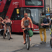 Hundreds people participating London Naked Bike Ride passing through Piccadilly circus on June 9 2018, London, UK