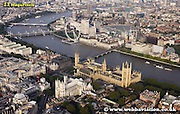 aerial photograph of the Houses of Parliament Westminister London England UK