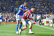 Birmingham City defender Wes Harding (45) battles for possession  with Aston Villa midfielder Jack Grealish (10) during the EFL Sky Bet Championship match between Birmingham City and Aston Villa at St Andrews, Birmingham, England on 10 March 2019.
