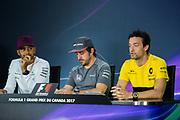 June 8-11, 2017: Canadian Grand Prix. Lewis Hamilton (GBR), Mercedes AMG Petronas Motorsport, F1 W08, Fernando Alonso (SPA), McLaren Honda,  MCL32, Jolyon Palmer (GBR), Renault Sport Formula One Team, R.S.17