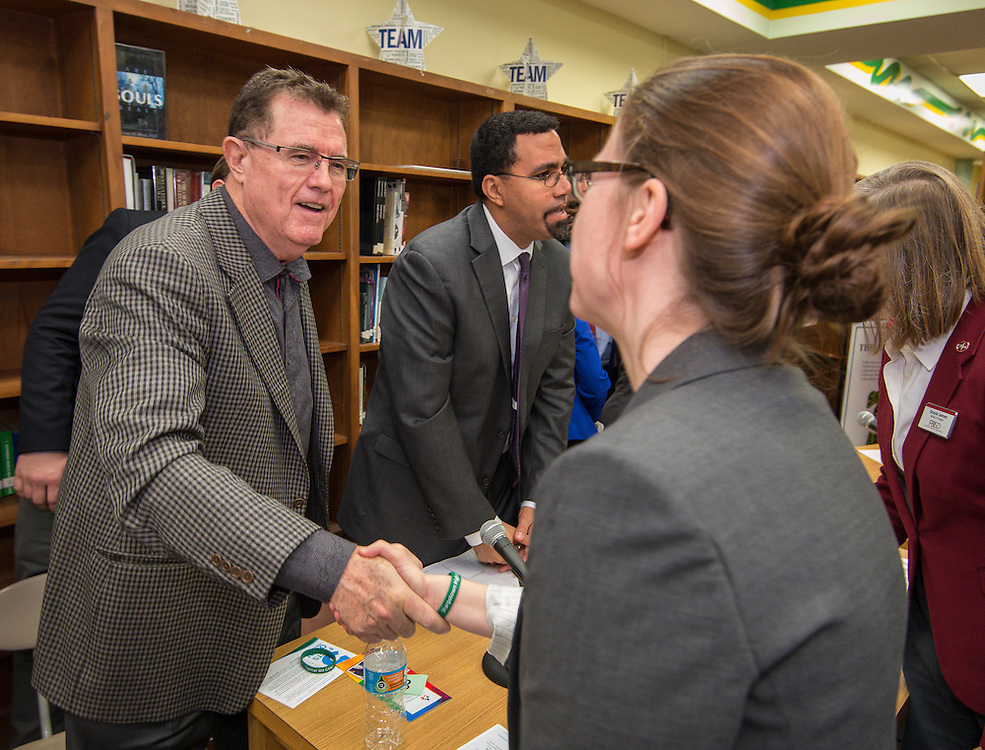 Houston ISD Superintendent Dr. Terry Grier, left, greets attendees following a roundtable discussion at Sharpstown High School, January 15, 2016.