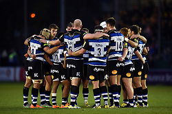 The Bath team huddle together at half-time - Mandatory byline: Patrick Khachfe/JMP - 07966 386802 - 10/10/2015 - RUGBY UNION - The Recreation Ground - Bath, England - Bath Rugby v Exeter Chiefs - West Country Challenge Cup.