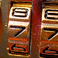 A macro shot of combination lock