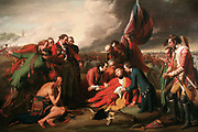 The Death of General Wolfe is a well-known 1770 painting by Anglo-American artist Benjamin West depicting the death of British General James Wolfe during the 1759 Battle of Quebec of the Seven Years' War. It is an oil on canvas of the Enlightenment period