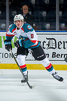 KELOWNA, CANADA - JANUARY 25: Mark Liwiski #9 of the Kelowna Rockets skates against the Victoria Royals  on January 25, 2019 at Prospera Place in Kelowna, British Columbia, Canada.  (Photo by Marissa Baecker/Shoot the Breeze)