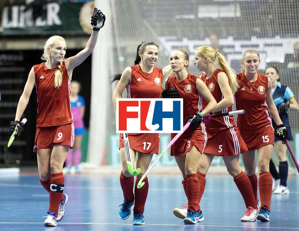 BERLIN - Indoor Hockey World Cup<br /> Bronze: Ukraine - Belarus<br /> foto: Belarus scored a goal<br /> WORLDSPORTPICS COPYRIGHT FRANK UIJLENBROEK