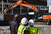 AFC Wimbledon legend Dave Bassett and children of Smallwood Primary School watch the AFC Wimbledon Demolition Event, marking the start of building works at the AFC Wimbledon Stadium Site, Plough Lane, United Kingdom on 16 March 2018. Picture by Stephen Wright.