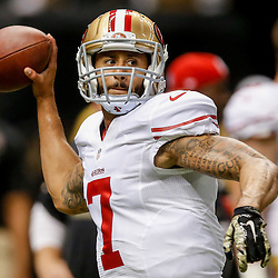 Nov 9, 2014; New Orleans, LA, USA; San Francisco 49ers quarterback Colin Kaepernick (7) before a game against the New Orleans Saints at Mercedes-Benz Superdome. Mandatory Credit: Derick E. Hingle-USA TODAY Sports