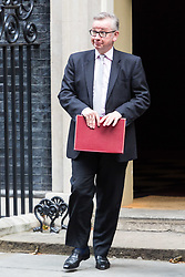 London, October 17 2017. Secretary of State for Environment, Food and Rural Affairs Michael Gove leaves the UK cabinet meeting at Downing Street. © Paul Davey