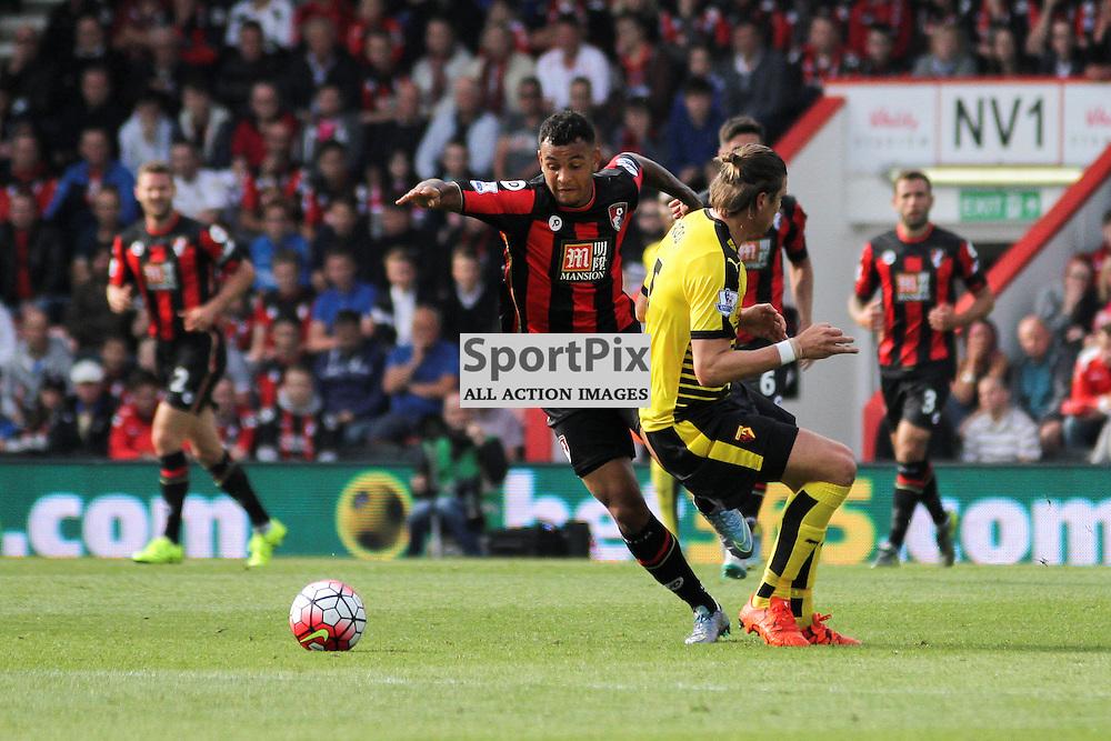 Joshua King skips past sebastian Prodl During Bournemouth vs Watford on Saturday 3rd of October 2015.