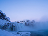 Goðafoss at sunrise in winter. North Iceland.