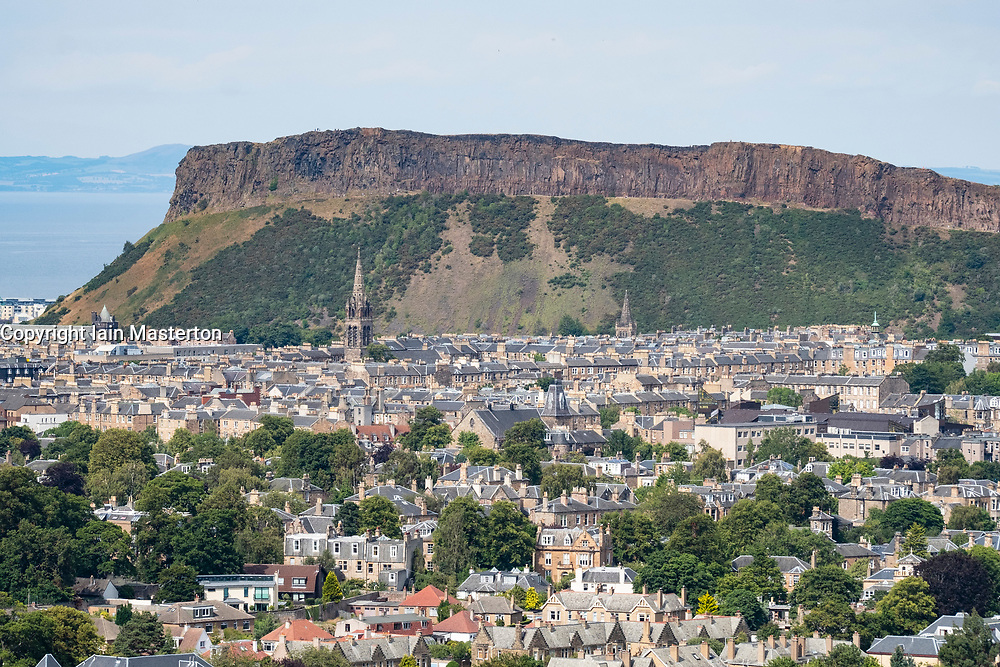View of Salisbury Crags from Blackford Hill , Edinburgh, Scotland, UK