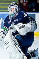 KELOWNA, CANADA, JANUARY 27: Calvin Pickard #1 of the SEattle Thunderbirds warms up in net as the Seattle Thunderbirds visit the Kelowna Rockets on January 27, 2012 at Prospera Place in Kelowna, British Columbia, Canada (Photo by Marissa Baecker) *** Local Caption ***