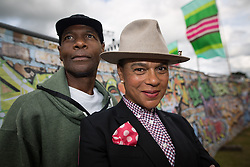 © Licensed to London News Pictures . 09/08/2015 . Siddington , UK . THE SELECTER back stage . The Rewind Festival of 1980s music , fashion and culture at Capesthorne Hall in Macclesfield . Photo credit: Joel Goodman/LNP