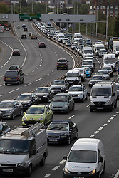© Licensed to London News Pictures. 13/05/2020. London, UK. Traffic builds up during rush hour on the A102 in Greenwich south east London. A number of lockdown restrictions have been eased today. Photo credit: George Cracknell Wright/LNP