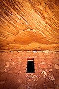 Granary and sandstone ceiling at Moon House Ruin, an Ancestral Puebloan site on Utah's Cedar Mesa.