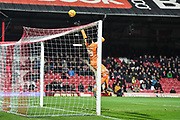Aston Villa Goalkeeper Lovre Kalinic (28) tips the ball over the goal during the EFL Sky Bet Championship match between Brentford and Aston Villa at Griffin Park, London, England on 13 February 2019.