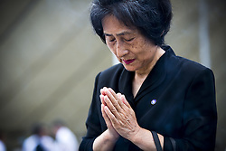 August 9, 2016 - Nagasaki, Nagasaki Prefecture, Japan - NAGASAKI, JAPAN - AUGUST 9 : Visitors pray for the atomic bomb victims in front of the Nagasaki Peace Park in Nagasaki, southern Japan, Tuesday, August 9, 2016. Japan marked the 71st anniversary of the atomic bombing on Nagasaki. On August 9, 1945, during World War II, the United States dropped the second Atomic bomb on Nagasaki city, killing an estimated 40,000 people which ended World War II. (Credit Image: © Richard Atrero De Guzman/NurPhoto via ZUMA Press)