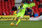 Huddersfield Town defender Mark Hudson launches a long-ball pass during the Sky Bet Championship match between Nottingham Forest and Huddersfield Town at the City Ground, Nottingham, England on 13 February 2016. Photo by Aaron  Lupton.