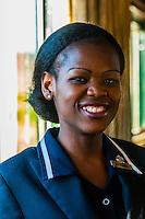 Train hostess Zodwa Ndlovu aboard the luxury Rovos Rail train from Pretoria to Cape Town, South Africa.