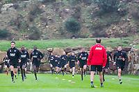 ESTEPONA - 04-01-2016, AZ in Spanje 4 januari, AZ speler Thom Haye, AZ speler Derrick Luckassen, AZ speler Dabney dos Santos Souza, AZ trainer John van den Brom, AZ speler Celso Ortiz