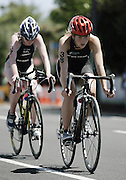 New Zealand's Anna Hamilton and Sarah Bryant during the cycle leg of ITU World Cup Triathlon Elite womens race held in New Plymouth, New Zealand on Sunday 13 November, 2005.