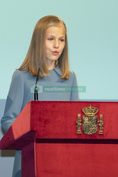 October 31, 2018 - Madrid, Spain - Princess Leonor of Spain attends the reading of the Spanish Constitution for the 40th anniversary of its approval by the Congress at the Cervantes Institute on October 31, 2018 in Madrid, Spain. (Credit Image: © Oscar Gonzalez/NurPhoto via ZUMA Press)