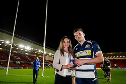 Bristol Rugby Man of the Match Will Cliff is presented with his award at the end of the game - Mandatory byline: Rogan Thomson/JMP - 06/11/2015 - RUGBY UNION - Ashton Gate Stadium - Bristol, England - Bristol Rugby v Doncaster Knights - Greene King IPA Championship.
