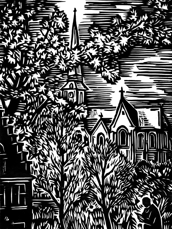 A black / white drawing of a church in a village in the countryside