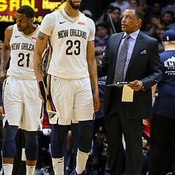Mar 13, 2018; New Orleans, LA, USA; New Orleans Pelicans head coach Alvin Gentry and forward Anthony Davis (23) talk during a time out during the second half of a game against the Charlotte Hornets at the Smoothie King Center. The Pelicans defeated the Hornets 119-115.  Mandatory Credit: Derick E. Hingle-USA TODAY Sports