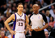 Feb. 15, 2012; Phoenix, AZ, USA; Phoenix Suns guard Steve Nash (13) reacts on the court against the Atlanta Hawks at the US Airways Center. The Hawks defeated the Suns 101-99. Mandatory Credit: Jennifer Stewart-US PRESSWIRE..