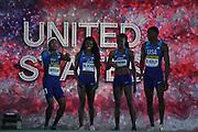 May 12, 2019; Yokohama, JPN; Members of the United States mixed 4 x 400 relay (from left) Dontavius Wright, Jas Blocker, Joanna Atkins and My'Lik Kerley are introduced during the IAAF World Relays at International Stadium Yokohama.