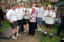The victorious House of Lords team with BARONESS HAYMAN the Lord Speaker at the annual House of Lords vs House of Commons Tug of War in aid of Macmillan Cancer Support held in College Garden, Westminster Abbey, London on 9th June 2009.