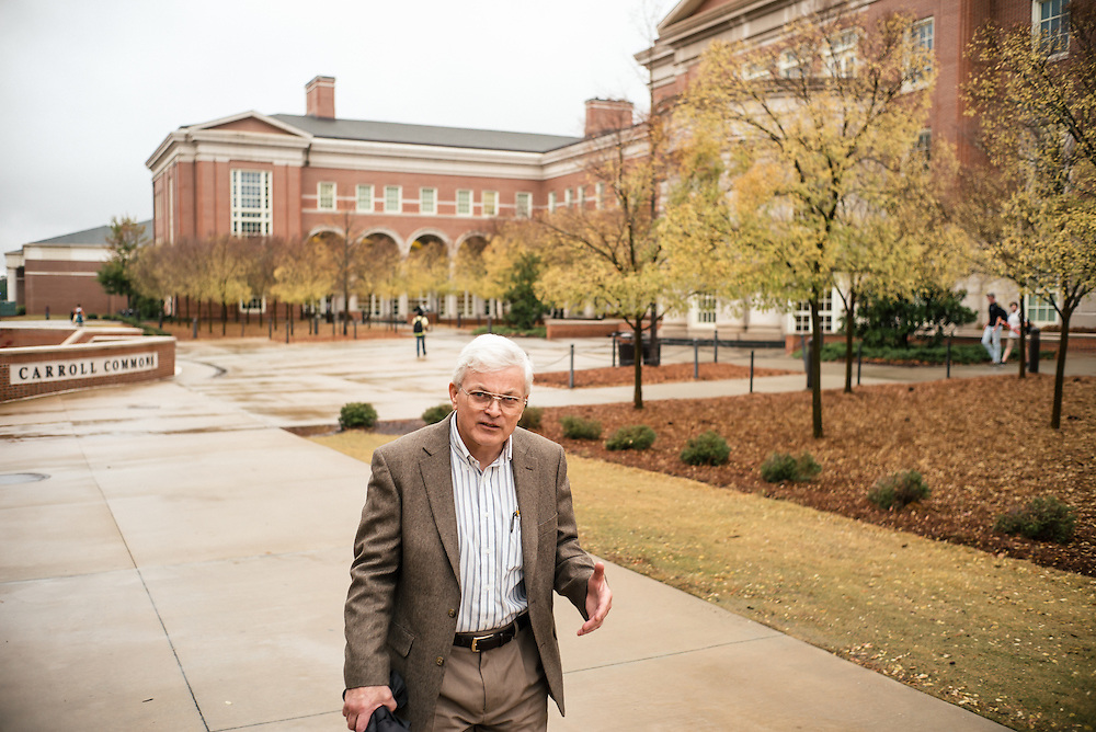 AUBURN, AL – NOVEMBER 20, 2016: Professor Tony Overfelt walk on the campus of Auburn University. Overfelt directs additive manufacturing in the Department of Mechanical Engineering, which has been instrumental in the university's partnership with General Electric. In 2014 GE chose Auburn as the location for their first facility dedicated to 3D printing of high-volume products, and is heavily recruiting Auburn students for employment after graduation.<br /> <br /> In much of the United States, global trade and technological innovation has failed to produce the prosperity hoped for by political and business leaders. Yet despite formidable economic challenges, some localities are flourishing. In Lee County, Ala., unemployment is below the national average despite the loss of thousands of manufacturing jobs, and the key to the county's resilience may be Auburn University, which provided a steady source of employment during recessions and helped draw new businesses to replace those that fled. CREDIT: Bob Miller for The Wall Street Journal<br /> [RESILIENT]