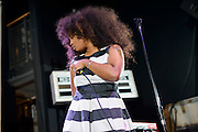 SZA soundchecking before the Red Bull Sound Select at Rough Trade in New York City on July 15, 2014.