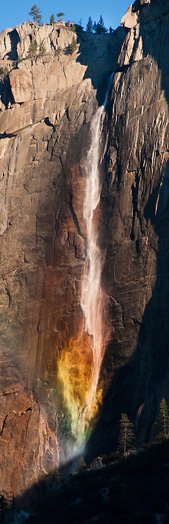 """Yosemite Falls Rainbow 1"" - Yosemite Falls plunges to the Valley floor, creating a rainbow in the process"
