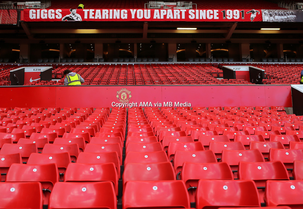 The GIGGS TEARING YOU APART SINCE 1991 at Old Trafford before the game on the day Ryan Giggs makes his debut as interim manager of Manchester United
