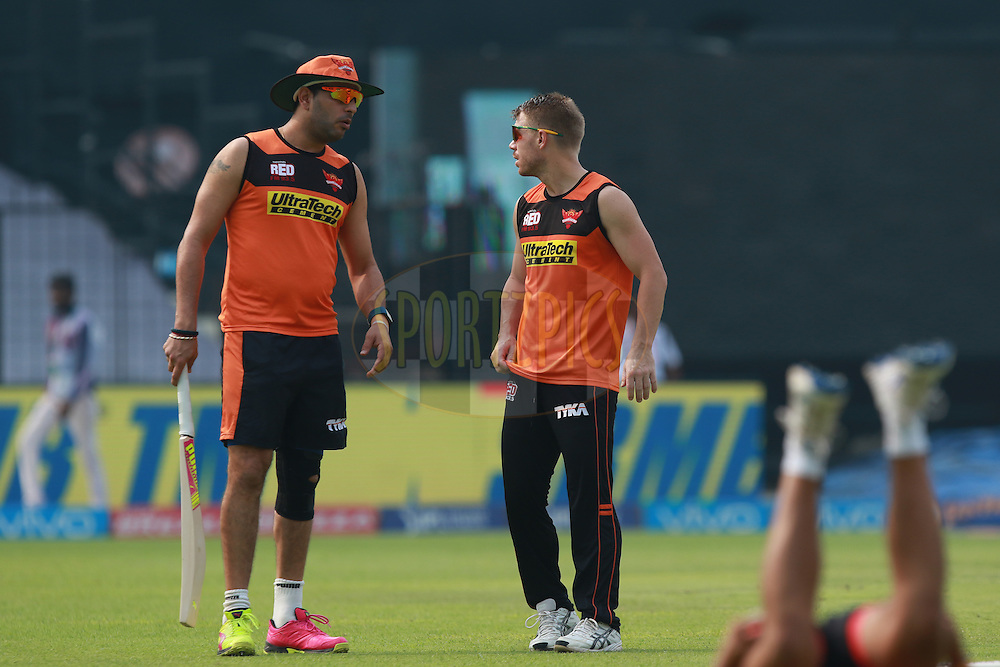 SRH player Yuvraj Sing(L) with D.Warner at practise session during match 55 of the Vivo Indian Premier League ( IPL ) 2016 between the Kolkata Knight Riders and the Sunrisers Hyderabad held at the Eden Gardens Stadium in Kolkata on the 22nd May 2016<br /> <br /> Photo by Saikat Das / IPL/ SPORTZPICS