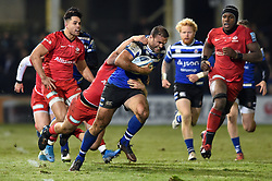 Jamie Roberts of Bath Rugby is tackled by Owen Farrell of Saracens - Mandatory byline: Patrick Khachfe/JMP - 07966 386802 - 29/11/2019 - RUGBY UNION - The Recreation Ground - Bath, England - Bath Rugby v Saracens - Gallagher Premiership