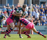 Mitch Garbutt of Leeds Rhinos is tackled during the Super 8s Qualifiers match at The Big Fellas Stadium, Post Office Road, Pontefract.<br /> Picture by Richard Land/Focus Images Ltd +44 7713 507003<br /> 06/08/2016