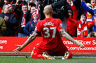 Martin Skrte of Liverpool celebrates scoring his first goal of the game in fron tof fans during the Barclays Premier League match at Anfield, Liverpool<br /> Picture by David Horn/Focus Images Ltd +44 7545 970036<br /> 08/02/2014