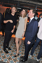 Left to right, JAMES FABRICANT, SUSANNA WARREN and GUY PELLY at the launch party for the new nightclub Tonteria, 7-12 Sloane Square, London on 25th October 2012.