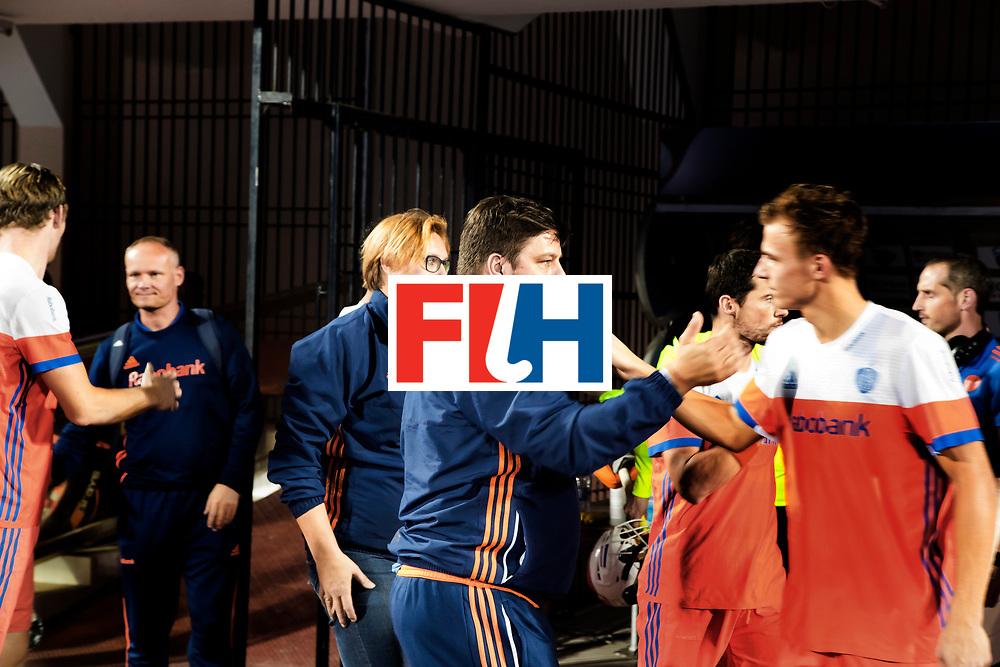 BHUBANESWAR -  bondscoach Max Caldas (Ned) tijdens de Hockey World League Finals , de kwartfinale wedstrijd Duitsland-Nederland (3-3).Duitsland wint na shoot-outs.    COPYRIGHT KOEN SUYK
