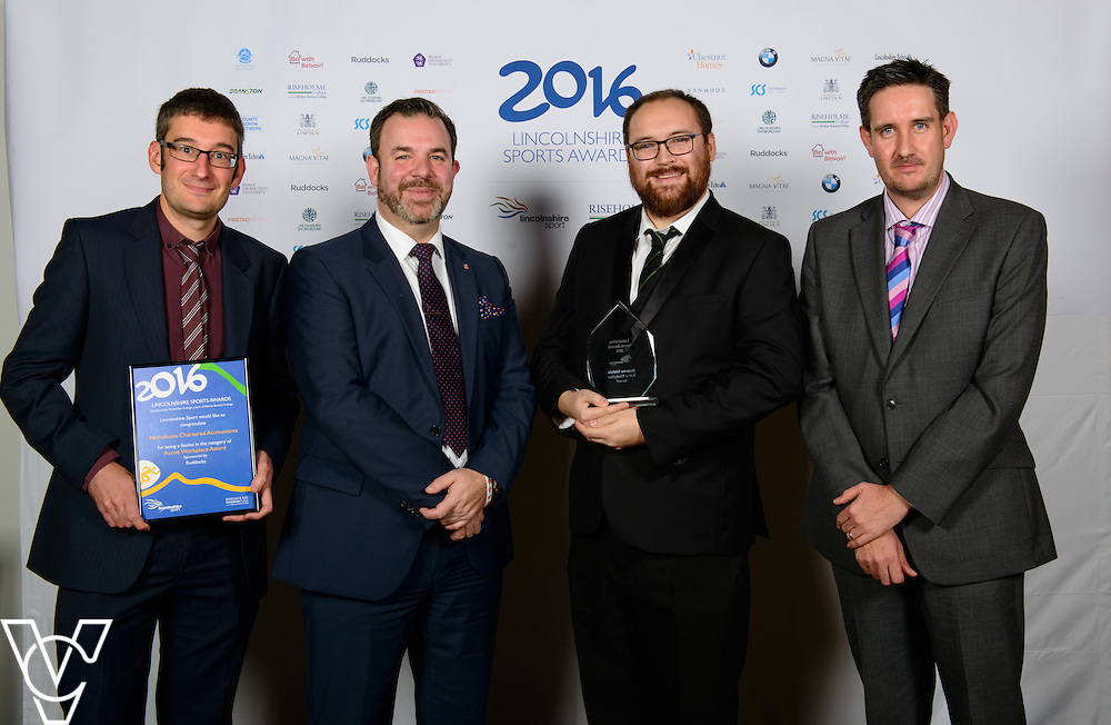 Lincolnshire Sport Awards 2016:<br /> <br /> Active Workplace Awards sponsored by Ruddocks.  Winner: Rockstar.  Runners-up: Swann Lighting and Nicholsons.<br /> <br /> The 2016 Lincolnshire Sport Awards, organised by Lincolnshire Sport, and held at the Showground, Lincoln.<br /> <br /> Picture: Chris Vaughan Photography for Lincolnshire Sport<br /> Date: November 3, 2016